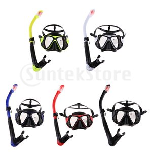 シュノーケルマスクスノーケル 曇り止め 強化ガラス 水中メガネ ダイビングマスク呼吸用パイプ安全全5色|stk-shop