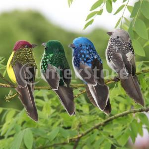 鳥 リアル 置物 クリップ付き スズメ 装飾 シェルフ 木の枝 観葉植物 ガーデンオブジェ