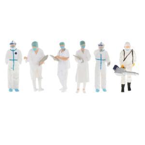 1:64スケールモデルミニドクターフィギュアpvc人マッチ箱おもちゃのグループの装飾