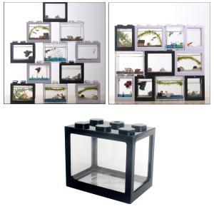 ミニ水槽.デスクトップマイクロ風景の水槽.水族館キット.スタッカブルビルディングブロック重畳魚タンク stk-shop
