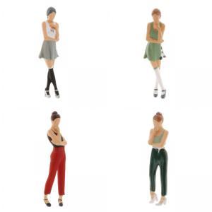 2-4ミニ1:64ジオラマフィギュア思考女性の風景家の装飾