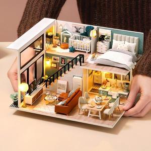 ミニチュアドールハウスキット DIY 手作り 北欧 木製ドールハウス 家具付き プレゼント ハウスモデル LEDライト おしゃれ|stk-shop