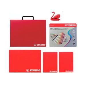 スタビロ 水性 色鉛筆セット 24色いろえんぴつ&A4ブリーフケース&スケッチブック&シャープナー STB0170|stocksquare-plus