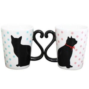 猫 マグカップ アルタ マグカップル 黒猫 ドット ペアマグカップ(猫 雑貨/猫グッズ) stocksquare-plus