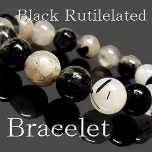 天然石 ブレスレット ブラックルチルクォーツ 黒針水晶 約10mm パワーストーン アクセサリー ハンドメイド|stone-kitchen