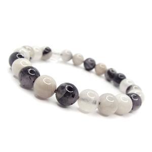 天然石 ブレスレット ブラックルチルクォーツ 黒針水晶 約6mm パワーストーン アクセサリー ハンドメイド|stone-kitchen
