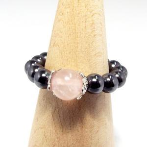 天然石 パワーストーン ヘマタイトリング 指輪 ローズクォーツ stone-kitchen