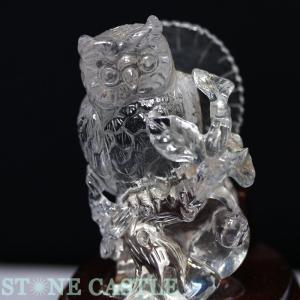 置物一点物 天然石 彫刻置物 ふくろう 水晶 (台付) No.09 ★特価★ パワーストーン※DM便・ネコポス不可※ stonecenter