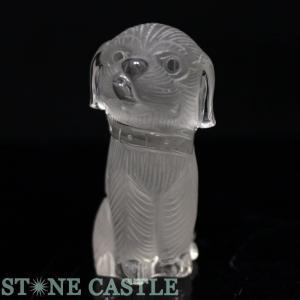 置物一点物 天然石 彫刻置物 犬 天然水晶 No.03 パワーストーン※DM便・ネコポス不可※ stonecenter