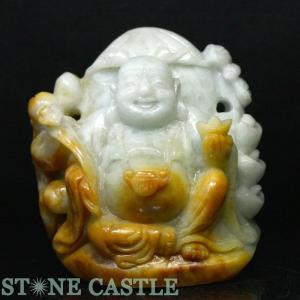 彫刻一点物 彫刻置物 本翡翠 (台付) (布袋) No.06 天然石 パワーストーン※DM便・ネコポス不可※|stonecenter