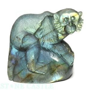 置物一点物 彫刻置物 サル ラブラドライト (小) No.04 天然石 パワーストーン※DM便・ネコポス不可※ stonecenter