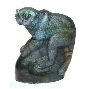 置物一点物 彫刻置物 サル ラブラドライト (小) No.23 天然石 パワーストーン※DM便・ネコポス不可※ stonecenter
