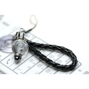 ストラップ 携帯 ストラップ 革ひも編み込みストラップ 携帯 ストラップ (黒ひも) 水晶 蛇 (素彫り)12mm 天然石 パワーストーン|stonecenter