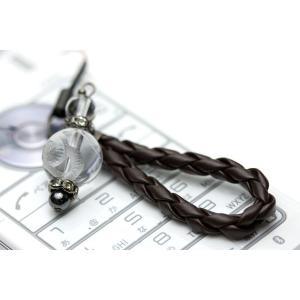 ストラップ 携帯 ストラップ 革ひも編み込みストラップ 携帯 ストラップ (茶ひも) 水晶 蛇 (素彫り)12mm 天然石 パワーストーン|stonecenter
