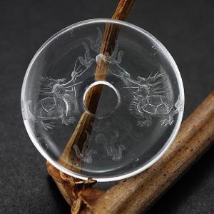置物 インテリア  置き石 ドーナツ型(ピーディスク) 30mm 水晶彫刻 龍亀(ろんぐい) (素彫り) 天然石 パワーストーン|stonecenter