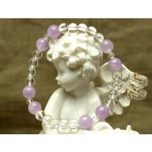 Lサイズ 癒しの紫 ラベンダアメジストと水晶 パワーストーン ブレスレット|stonemagic