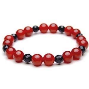 Lサイズ 腕回りの大きいサイズ 赤いカーネリアンと黒いオニキス  パワーストーン ブレスレット   |stonemagic
