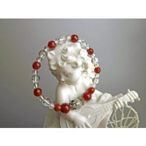 赤色がきれいな カーネリアンと水晶 パワーストーン ブレスレット|stonemagic