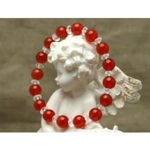 Lサイズ 腕回りの大きいサイズ 7月の誕生石 赤いカーネリアンときらきら水晶 パワーストーン ブレスレット |stonemagic