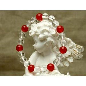 赤いカーネリアンと水晶 パワーストーン ブレスレット|stonemagic
