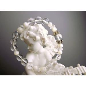 Lサイズ 安産のお守り マザーオブパールと水晶 パワーストーン ブレスレット|stonemagic