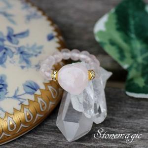 ハートのローズクォーツ パワーストーン リング 指輪 かわいいモンプティ |stonemagic