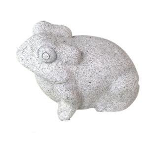 蛙7寸 かえる 白御影石製品 置物 石材彫刻品 カエル|stoneyamagishi5