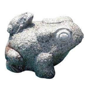 蛙 親子かえる 7寸 白御影 石製品 インテリア置物 石材彫刻品 カエル|stoneyamagishi5