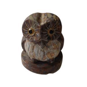 ふくろう 石台付 マーブル大理石製品 石材彫刻品 フクロウのインテリアストーン置物|stoneyamagishi5