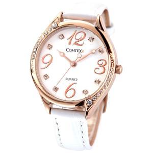 Comtex 腕時計 ホワイト皮革 バンド ウォッチ ローズゴールド 可愛い 丸い 時計 レディース|stonline