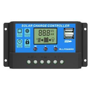 ソーラーチャージャーコントローラー ALLPOWERS 20A 12V/24V LCD 充電コントローラー 電流ディスプレイ 液晶 デュアル USB付き ソーラーパネル バッテリレギュレ stonline