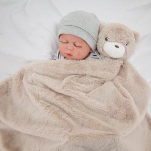 Kavkasベビー毛布 男 ブランケット こども用 お昼寝 新生児 出産のお祝 保温性 ふわふわ 76x76cm膝掛け かわいいぬいぐ (カーキクマ)|stonline