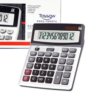 TOSSOW 電卓 12桁 時間計算 計算機 大型 おしゃれ 簿記 四捨五入ボタン付き オフィスの卓上計算機 ポータブルの大型液晶ディスプレイ ソーラー 電池のデュアルパ|stonline