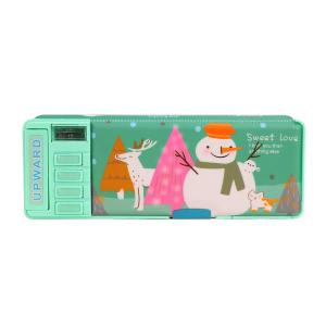 ペンケース 大容量 おしゃれ 小学校 筆箱 鉛筆削り付き 面白い オートボタン 新一年生 男の子 女の子 両面デザイン ピンク 青色 緑 収納ボックス 多機能 シンプ|stonline