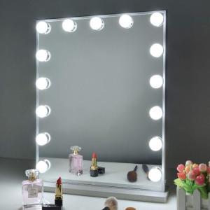 Wonstart 女優ミラー led化粧鏡 ハリウッドミラー 15個LED電球付き 寒色・暖色2色調光 明るさ調整可能 スタンド付き 卓上/壁掛け両用(シルバー) stonline
