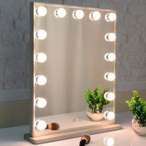 BEAUTME 女優ミラー 化粧鏡 2色ライトモード 明るさ調整 LED電球15個付き ハリウッドミラー 台座付き 卓上/壁掛け両用(シルバー) stonline