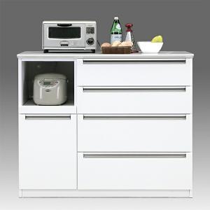 キッチンカウンター キッチン台 120 キッチン収納 ホワイト レンジ台