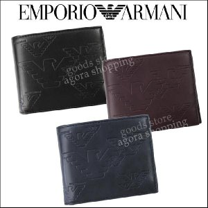 エンポリオアルマーニ 財布 YEM122 YH187 PVC 二つ折り財布 イーグル型押し 折財布 EMPORIO ARMANI エンポリオアルマーニ ag114700|store-goods