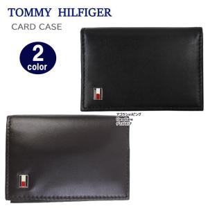 トミーヒルフィガー カードケース 31TL20X011 名刺入れ オックスフォード ロゴプレート レザー OXFORD メンズ トミー TOMMY HILFIGER ag-1696|store-goods
