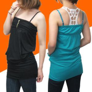 丈が長いポケット付きキャミソールトップス 4カラー ag-5278|store-goods