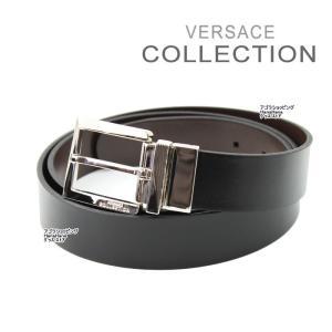 ヴェルサーチ コレクション ベルト V910039 斜線ロゴ混合デザイン ブラック ブラウン リバーシブル フリーサイズ メンズ  ヴェルサーチコレクション ag-787600|store-goods