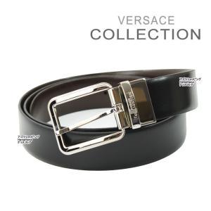 ヴェルサーチ コレクション ベルト V910077 ロゴデザイン ブラック ブラウン リバーシブル フリーサイズ メンズ  ヴェルサーチコレクション ag-787700|store-goods