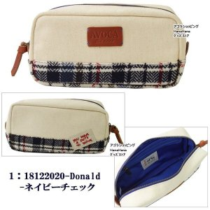 AVOCA アヴォカ ポーチ SUFFOLK TRAVEL POUCH サフォーク トラベル ポーチ 181220 ウール 台形型 化粧ポーチ コスメ ag-806400|store-goods