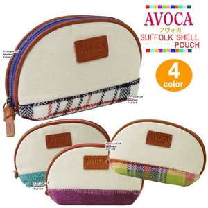 AVOCA アヴォカ ポーチ 18122 SUFFOLK SHELL POUCH ウール 半月型 化粧ポーチ コスメ ag-806600|store-goods