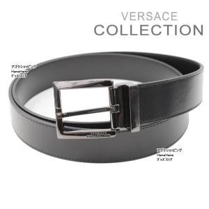 ヴェルサーチ コレクション ベルト V91S175 ブラック 斜線ロゴ混合デザイン フリーサイズ メンズ VERSACE COLLECTION ag-843100|store-goods