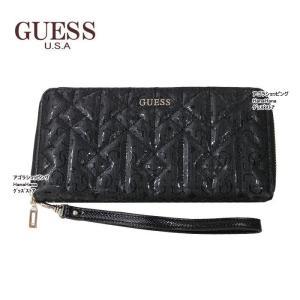 ゲス 財布 SG622146 BLACK キルト モノグラム ストラップ付 ラウンドファスナー 長財布 GUESS ゲス ag-864400|store-goods