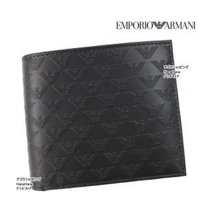 エンポリオ・アルマーニ 折り財布 YEM122 YC043 BLACK 型押しレザー 二つ折り 財布 メンズ EMPORIO ARMANI ag-870200|store-goods