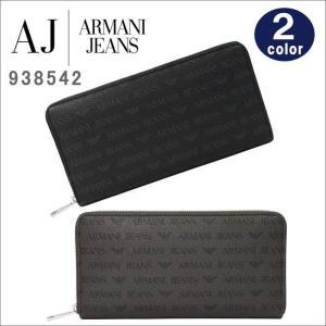 アルマーニジーンズ 長財布 938542 CC996 20/152 NERO MARRONE PVCナイロン モノグラム ラウンド 財布 メンズ ARMANI JEANS ag-887100|store-goods