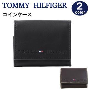 トミーヒルフィガー 財布 コインケース 31TL25X006 BK/BROWN 型押しロゴ 牛革レザー BOX開閉 小銭入れ メンズ TOMMY HILFIGER ag-887300 |store-goods