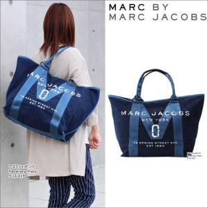 マークバイマークジェイコブス バッグ かすれロゴ M0011123-423 デニムカラー トートバッグ   大サイズ ハンド MARC BY MARC JACOBS ag-916800|store-goods